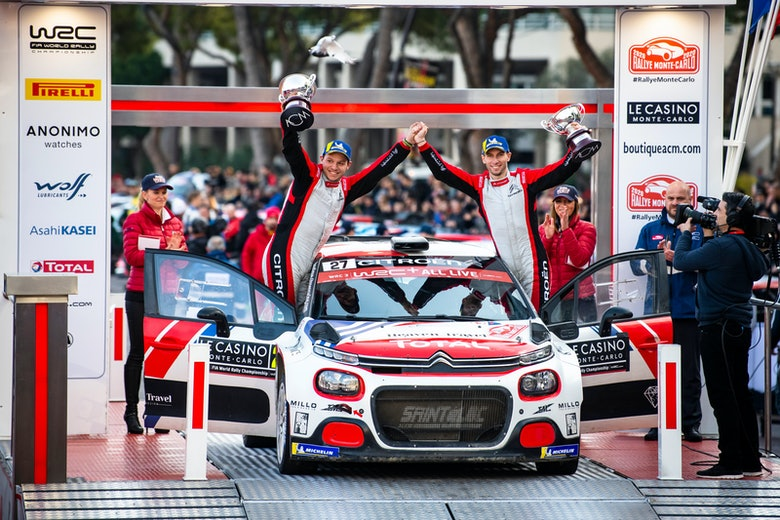 Eric Camilli and Francois-Xavier Buresi (FRA) are celebrating on podium on day 4 during World Rally Championship Monte-Carlo in Gap, France on January 26, 2020