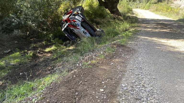 Kalle Rovanpera crash WRC Rally Sardinia 2020