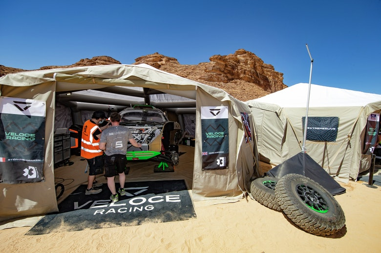 A view of the Veloce Racing team pit