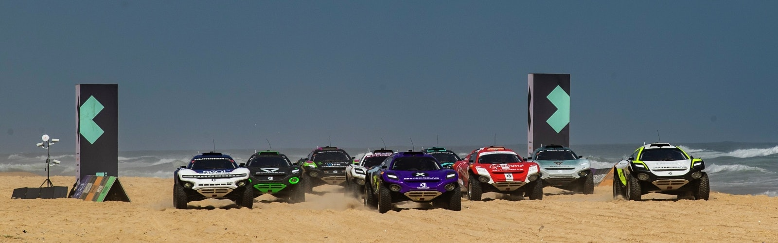 Extreme E teams cars on the beach in Senegal
