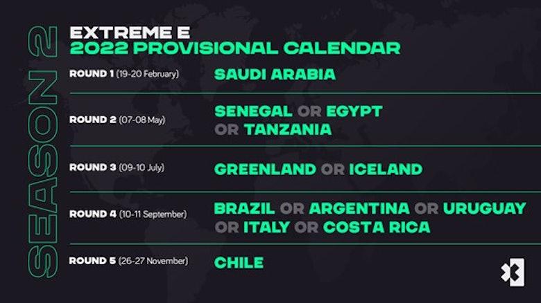 Extreme E provisional 2022 calendar