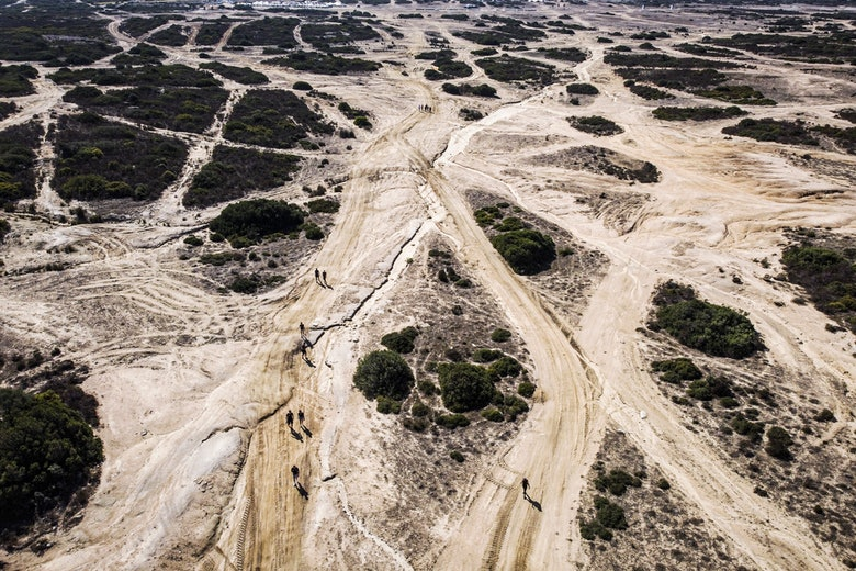 aerial drone view of the track in Sardinia