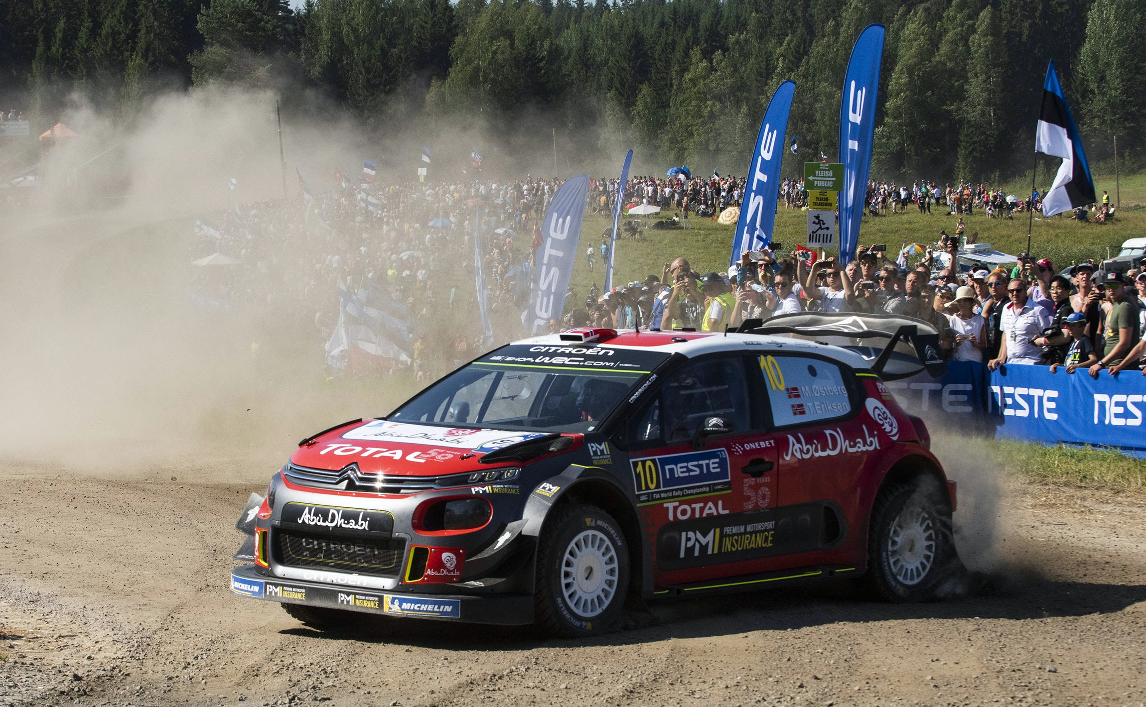 Mads Ostberg (NOR) , Torstein Eriksen (NOR) perform during FIA World Rally Championship 2018 in Jyvaskyla, Finland on 28.07.2018 // Jaanus Ree/Red Bull Content Pool // AP-1WDVGYY852111 // Usage for editorial use only // Please go to www.redbullcontentpool.com for further information. //