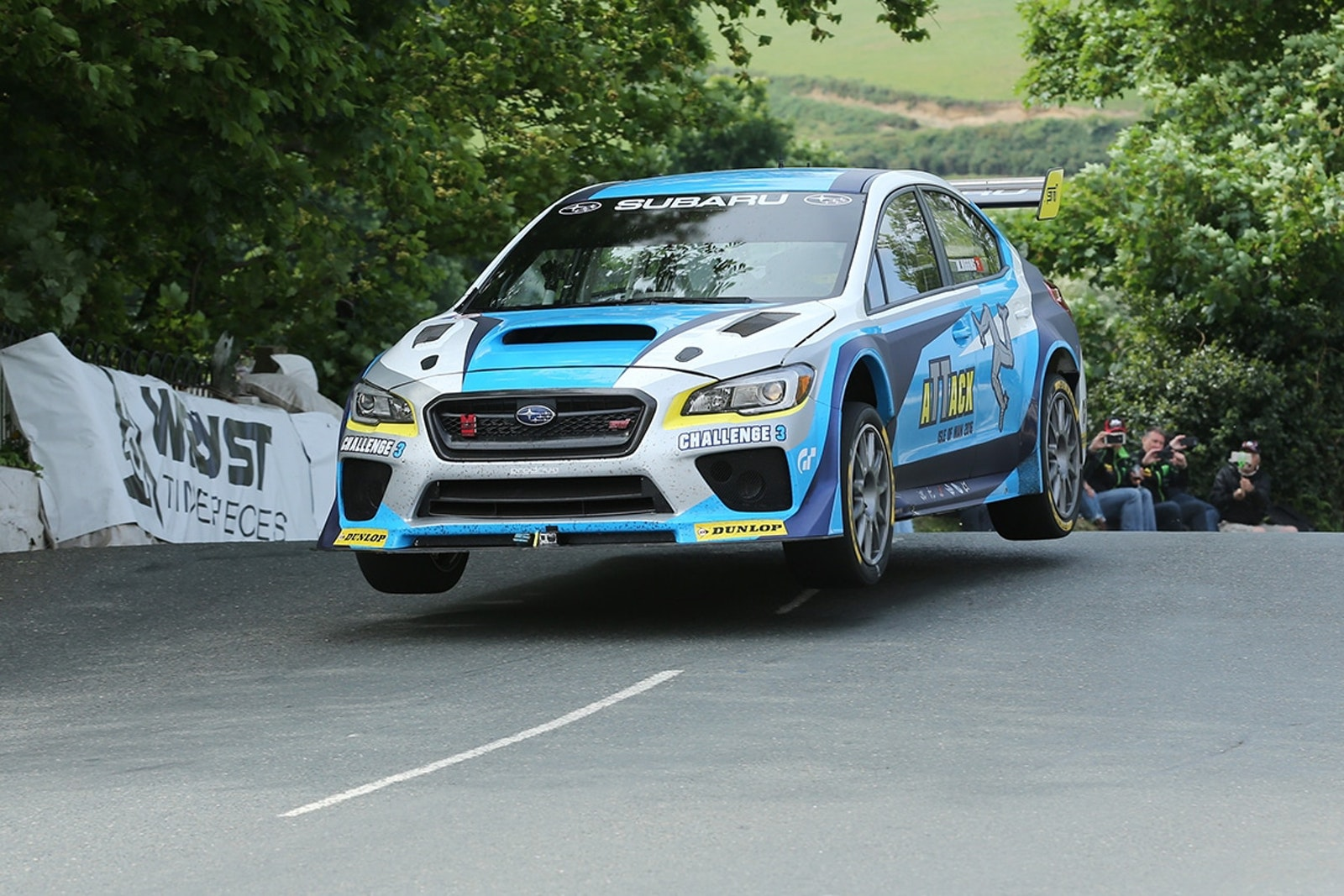 DAVE KNEEN/PACEMAKER PRESS, BELFAST: 04/06/2016: Mark Higgins in the Subaru WRX STI at Ballaugh Bridge during his record-breaking lap around the Isle of Man TT Course.