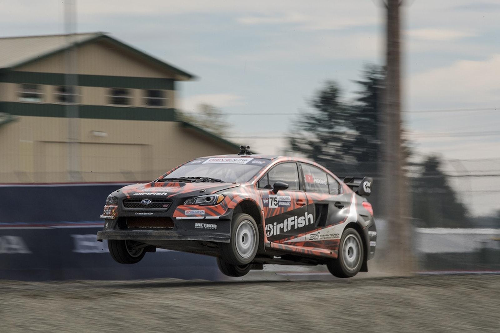 David Higgins launches his DirtFish Subaru STI at GRC Seattle
