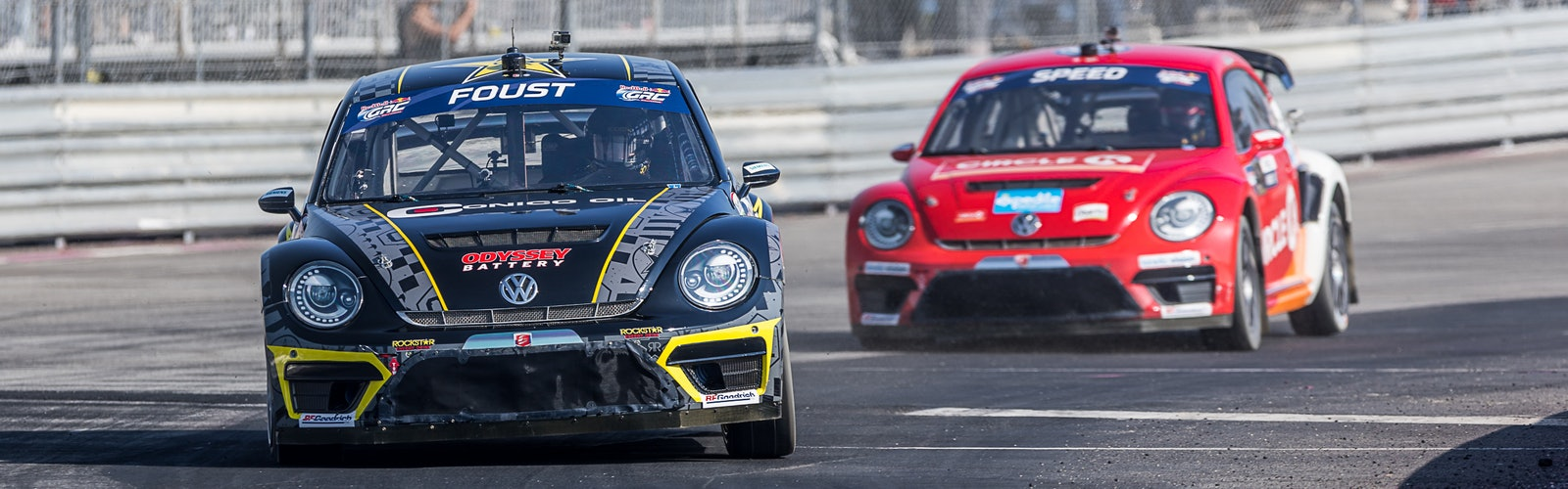 Tanner Foust Scott Speed Volkswagen Beetle Global Rallycross 2017