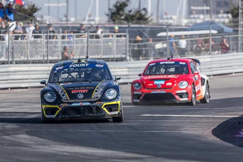 Tanner Foust Scott Speed Volkswagen Beetle Global Rallycross 2017