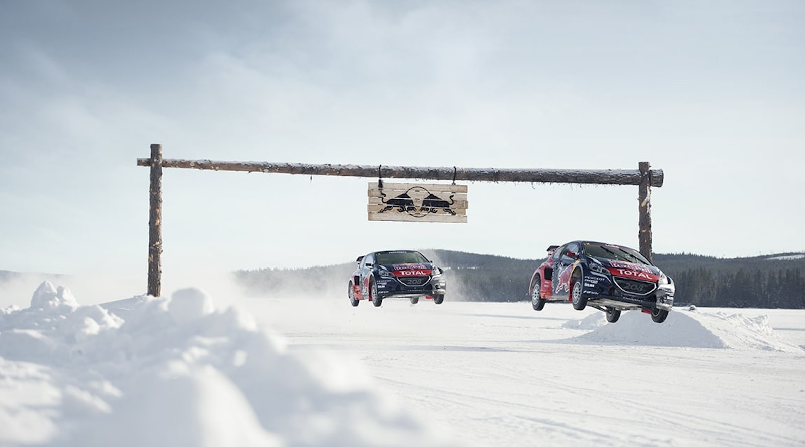 Sebastien Loeb and Timmy Hansen perform during the Rallycross on Ice project in Are, Sweden on February 16, 2016 // Oskar Bakke/Red Bull Content Pool // P-20160226-00309 // Usage for editorial use only // Please go to www.redbullcontentpool.com for further information. //
