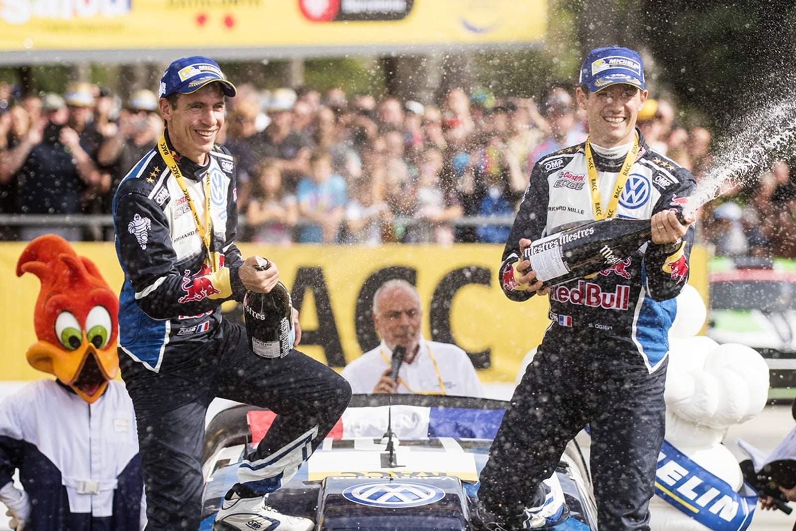 Sebastien Ogier (FRA), Julien Ingrassia celebrate the podium during FIA World Rally Championship 2016 Spain in Salou , Spain  on 16 October 2016 // Jaanus Ree/Red Bull Content Pool // P-20161016-00845 // Usage for editorial use only // Please go to www.redbullcontentpool.com for further information. //