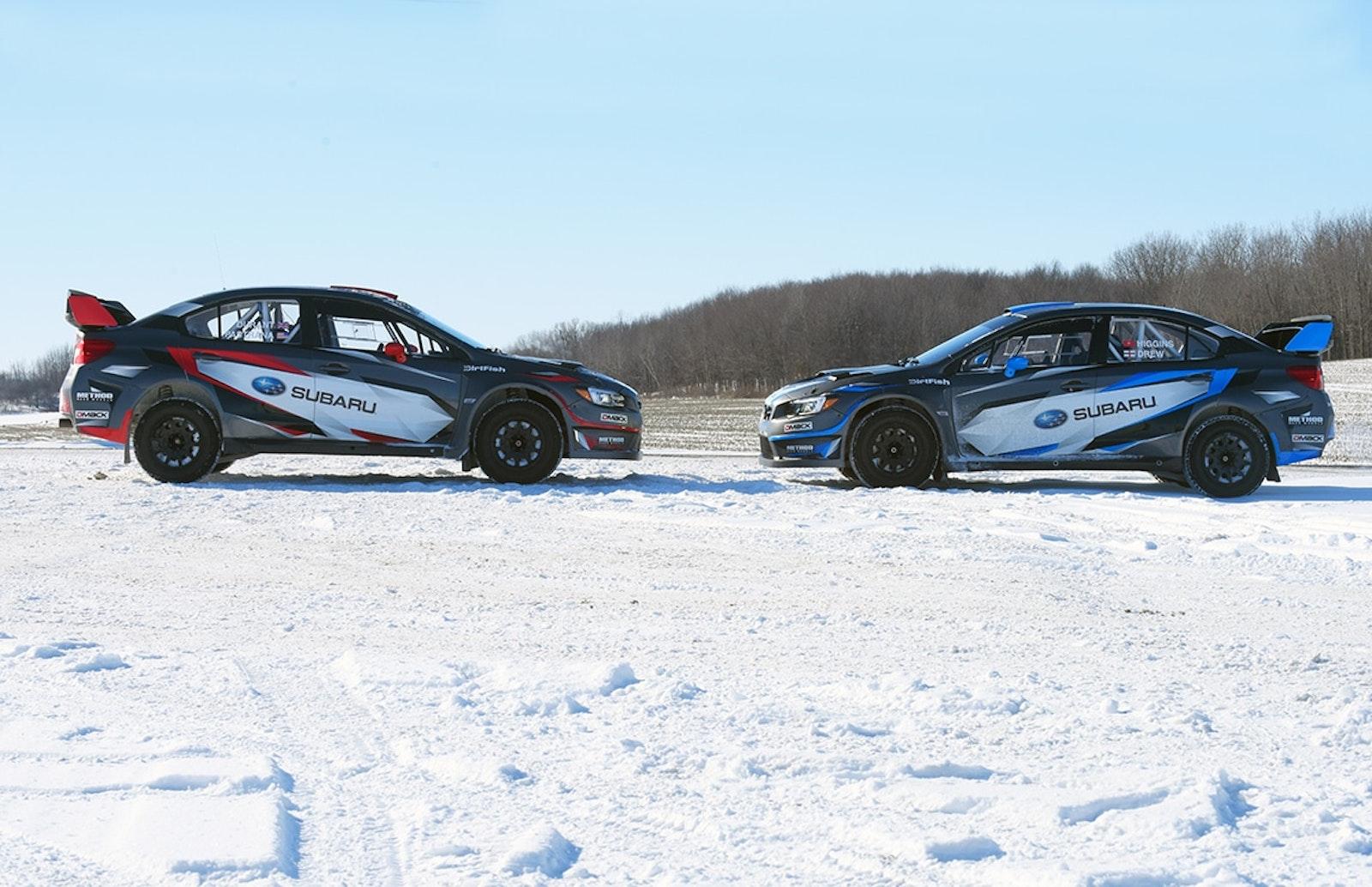 The_199_and_75_Subaru_WRX_STI_rally_cars_of_Pastrana_and_Higgins